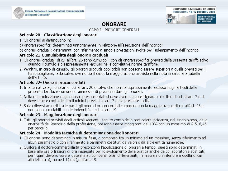 ONORARI CAPO I - PRINCIPI GENERALI Articolo 20 - Classificazione degli onorari 1.
