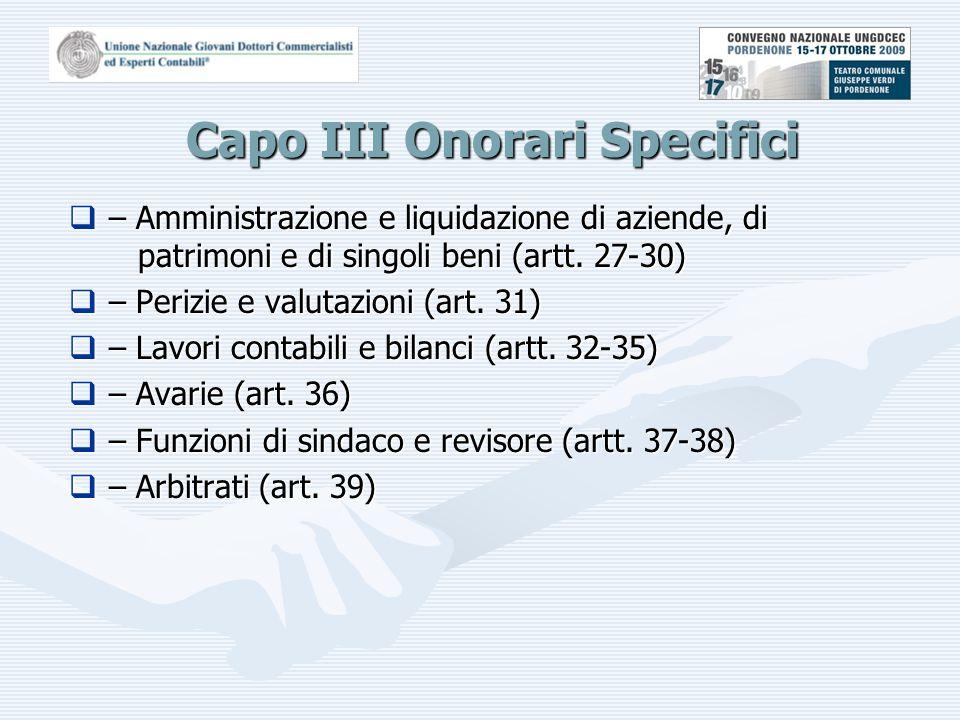 Capo III Onorari Specifici  – Amministrazione e liquidazione di aziende, di patrimoni e di singoli beni (artt.
