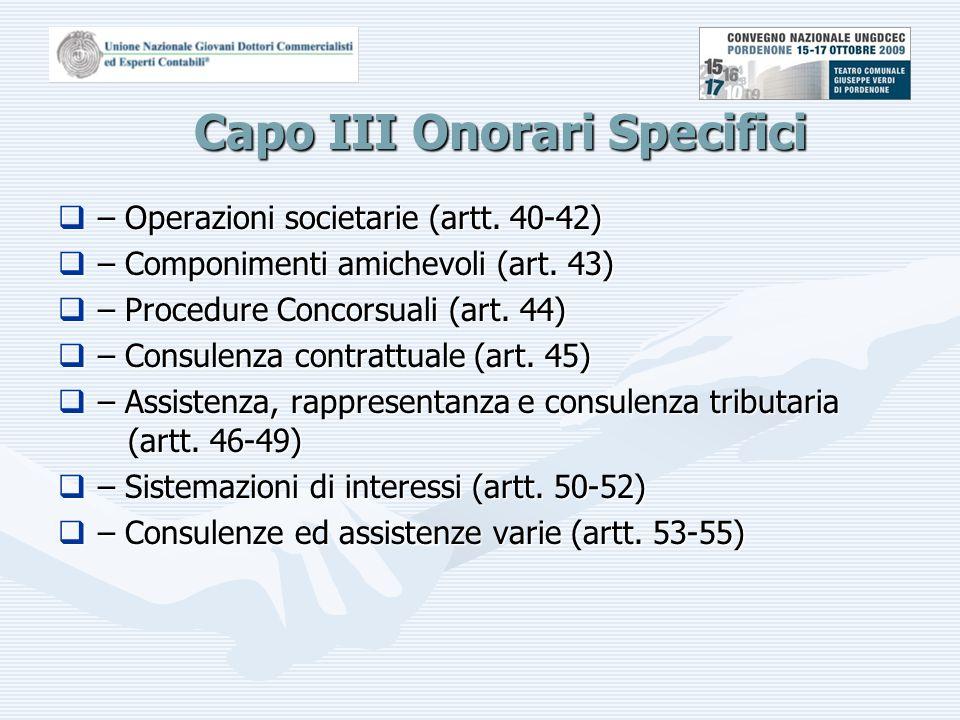 Capo III Onorari Specifici  – Operazioni societarie (artt.