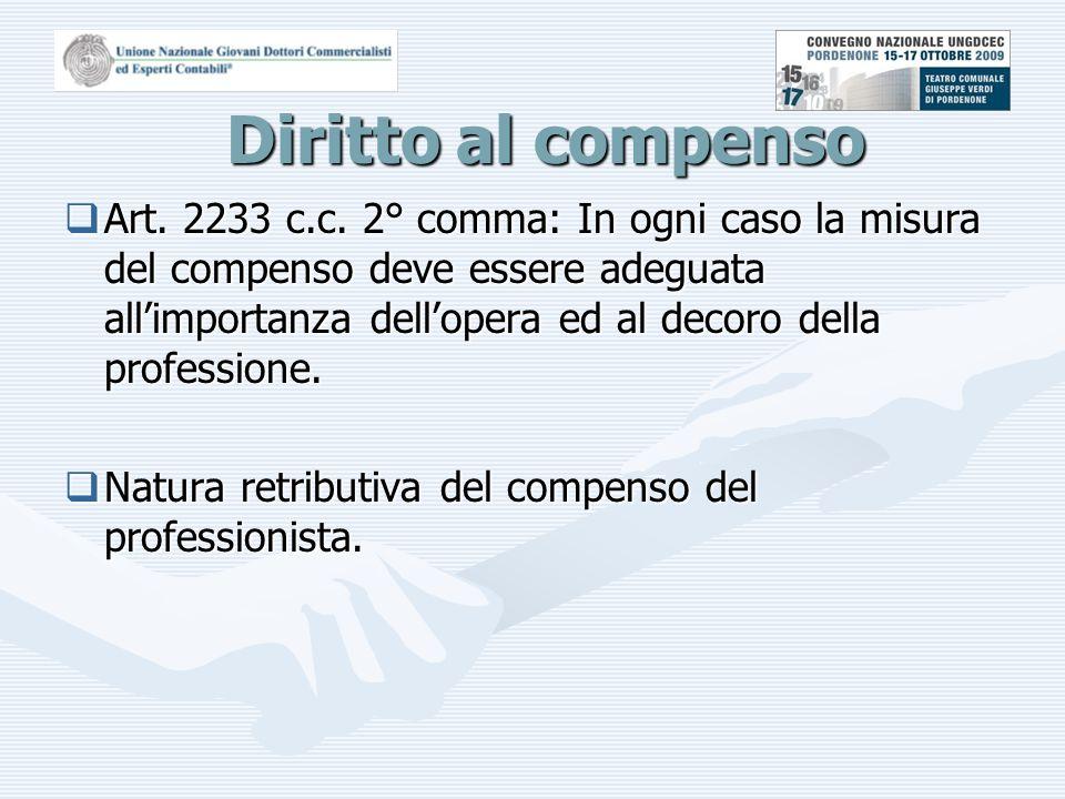 Classificazione dei compensi  I compensi si classificano in:  Rimborsi per spese di viaggio e soggiorno sostenute in relazione all'esecuzione dell'incarico (art.