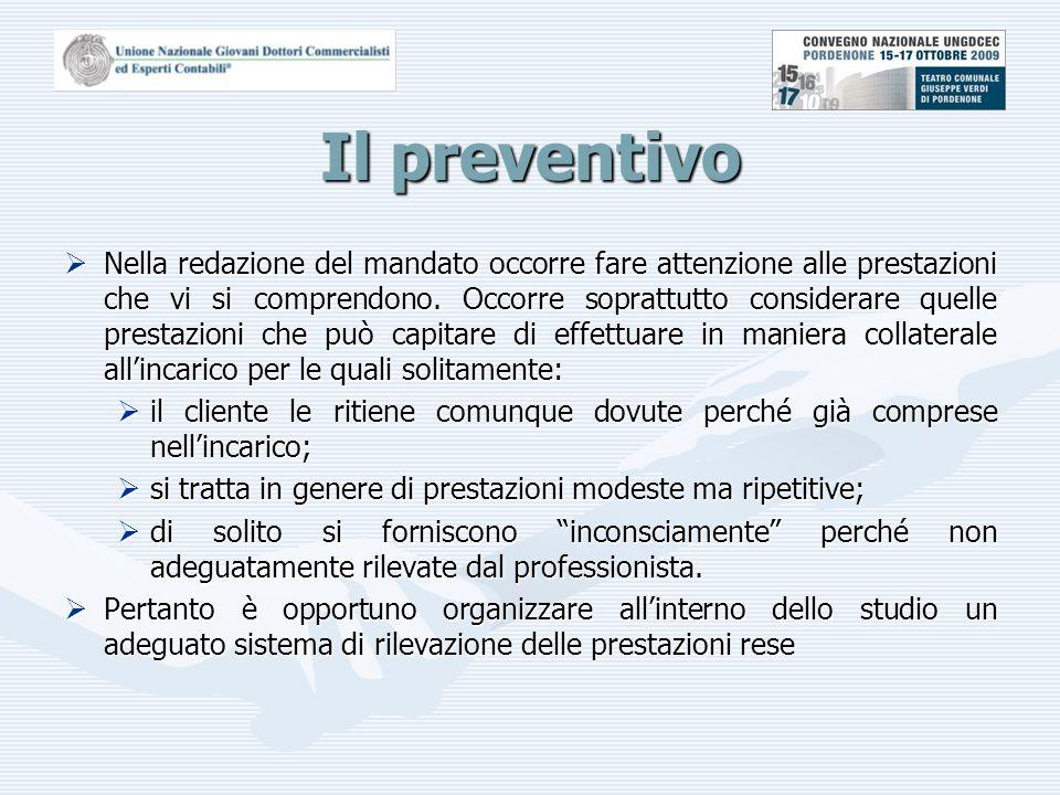 Il preventivo  Nella redazione del mandato occorre fare attenzione alle prestazioni che vi si comprendono.
