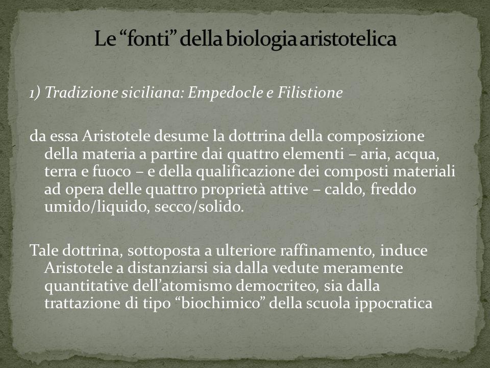 2) Scuola medica ippocratica Da essa Aristotele desume le conoscenze di anatomia, in particolare dalle opere Articolazioni, Fratture, Ferite nella testa per quanto concerne l'apparato scheletrico Natura dell'uomo per l'apparato vascolare.