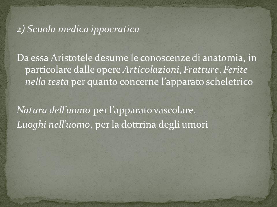 2) Scuola medica ippocratica Da essa Aristotele desume le conoscenze di anatomia, in particolare dalle opere Articolazioni, Fratture, Ferite nella tes