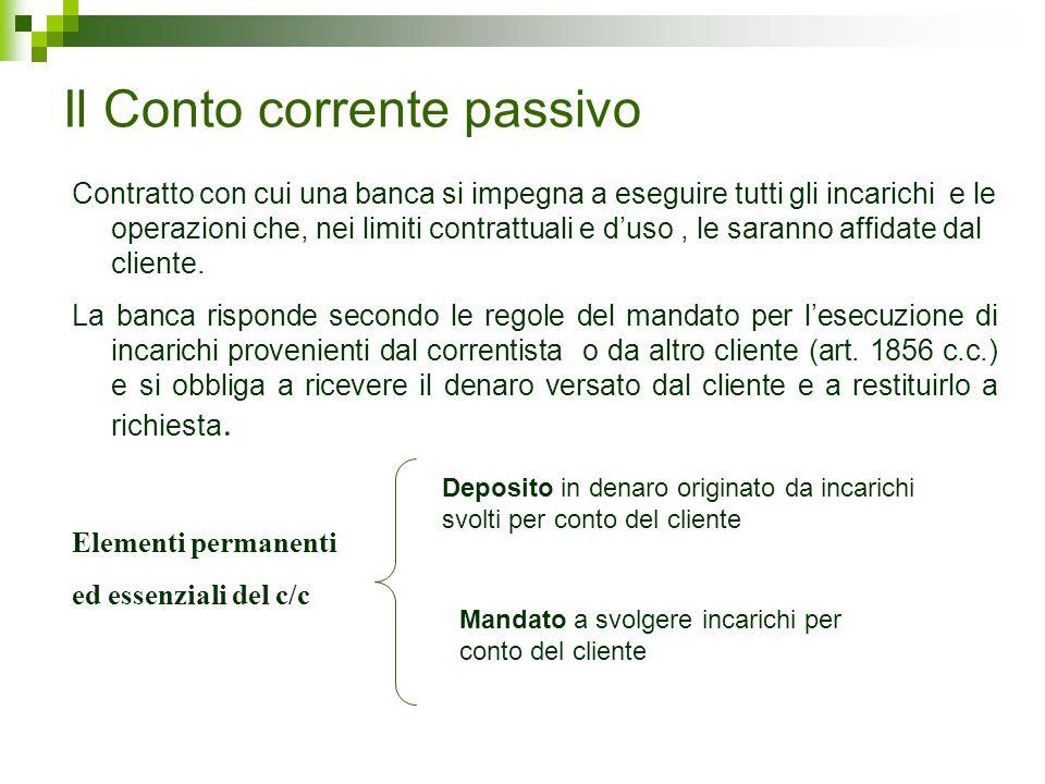 Il Conto corrente passivo Contratto con cui una banca si impegna a eseguire tutti gli incarichi e le operazioni che, nei limiti contrattuali e d'uso,