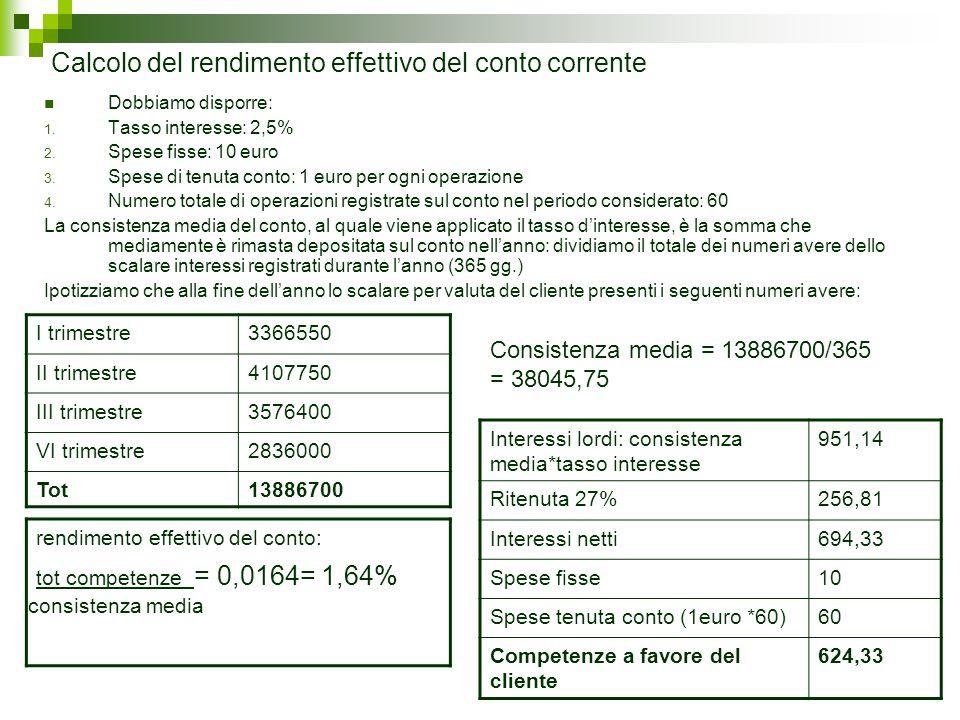 Calcolo del rendimento effettivo del conto corrente Dobbiamo disporre: 1. Tasso interesse: 2,5% 2. Spese fisse: 10 euro 3. Spese di tenuta conto: 1 eu
