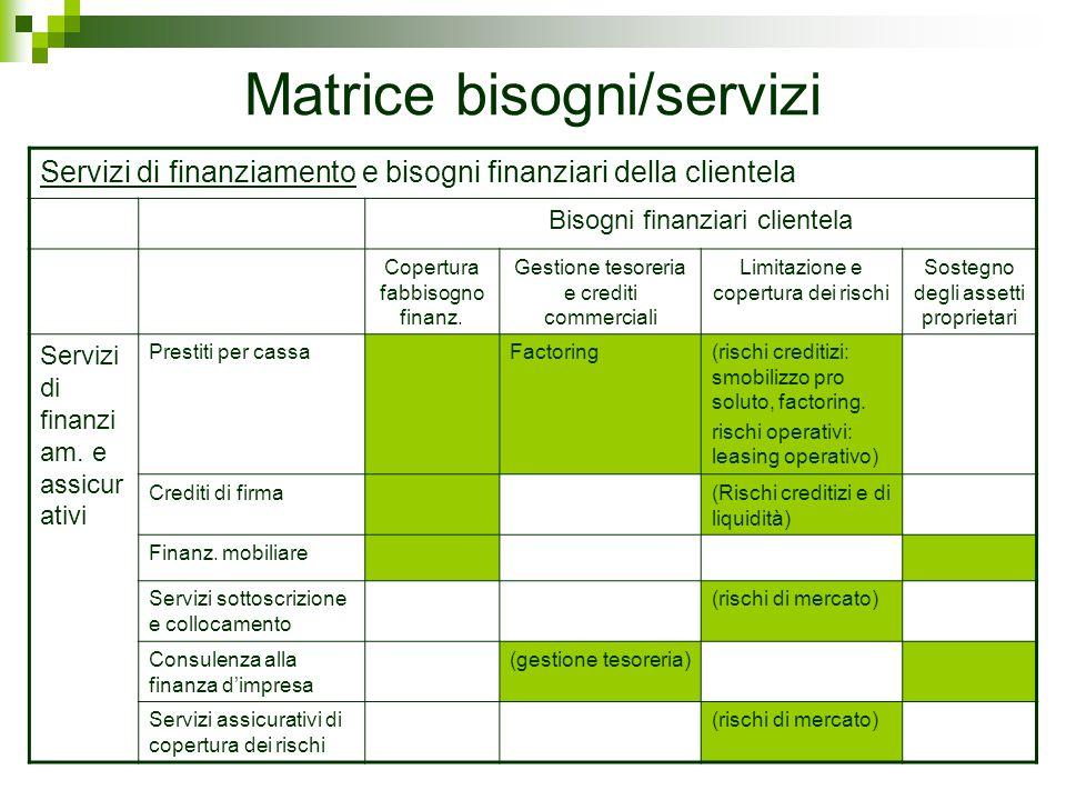 Matrice bisogni/servizi Servizi di finanziamento e bisogni finanziari della clientela Bisogni finanziari clientela Copertura fabbisogno finanz. Gestio