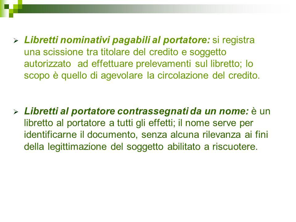 Libretti nominativi pagabili al portatore: si registra una scissione tra titolare del credito e soggetto autorizzato ad effettuare prelevamenti sul