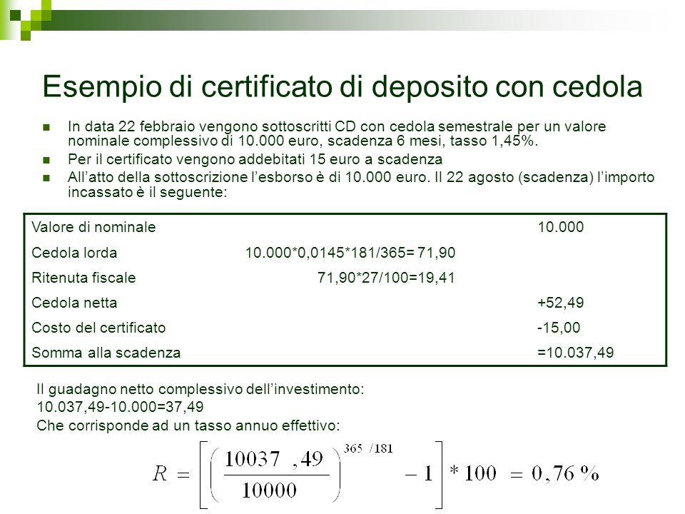 Esempio di certificato di deposito con cedola In data 22 febbraio vengono sottoscritti CD con cedola semestrale per un valore nominale complessivo di