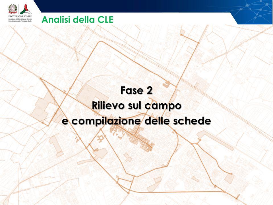 Fase 2 Rilievo sul campo e compilazione delle schede Analisi della CLE