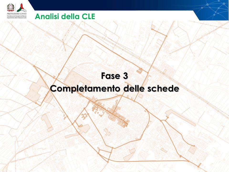 Fase 3 Completamento delle schede Analisi della CLE
