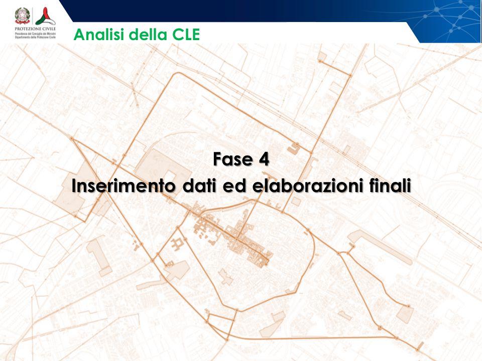 Fase 4 Inserimento dati ed elaborazioni finali Analisi della CLE