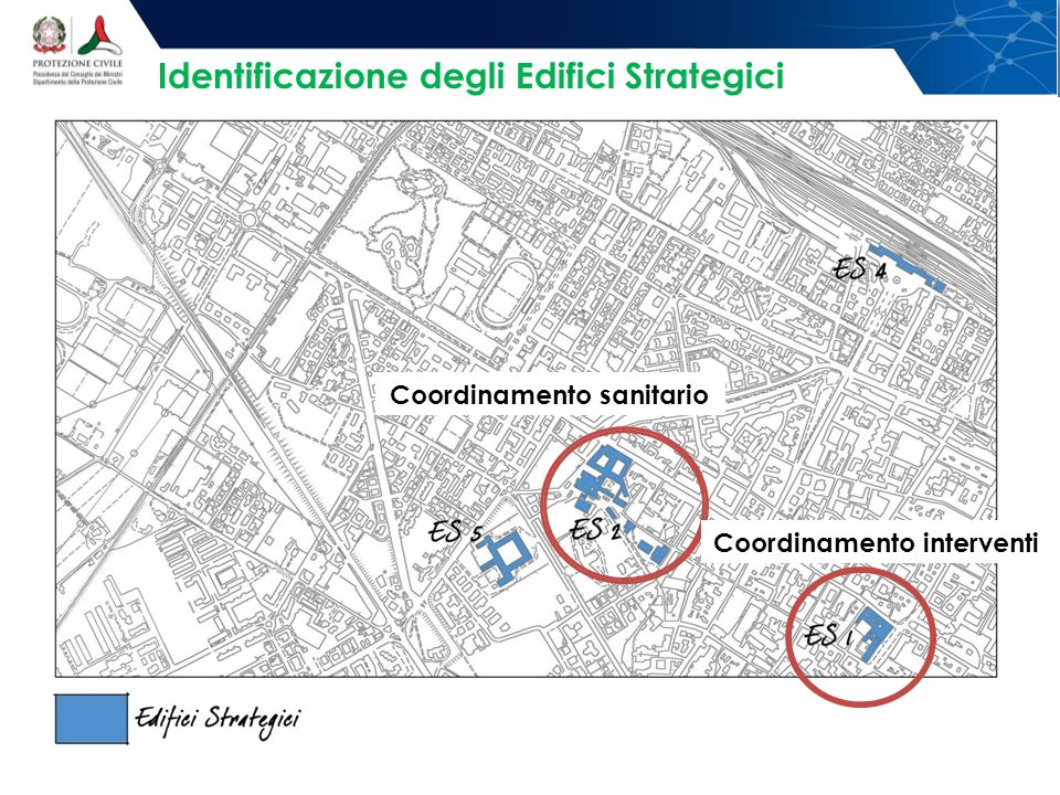 Identificazione degli Edifici Strategici Coordinamento interventi Coordinamento sanitario