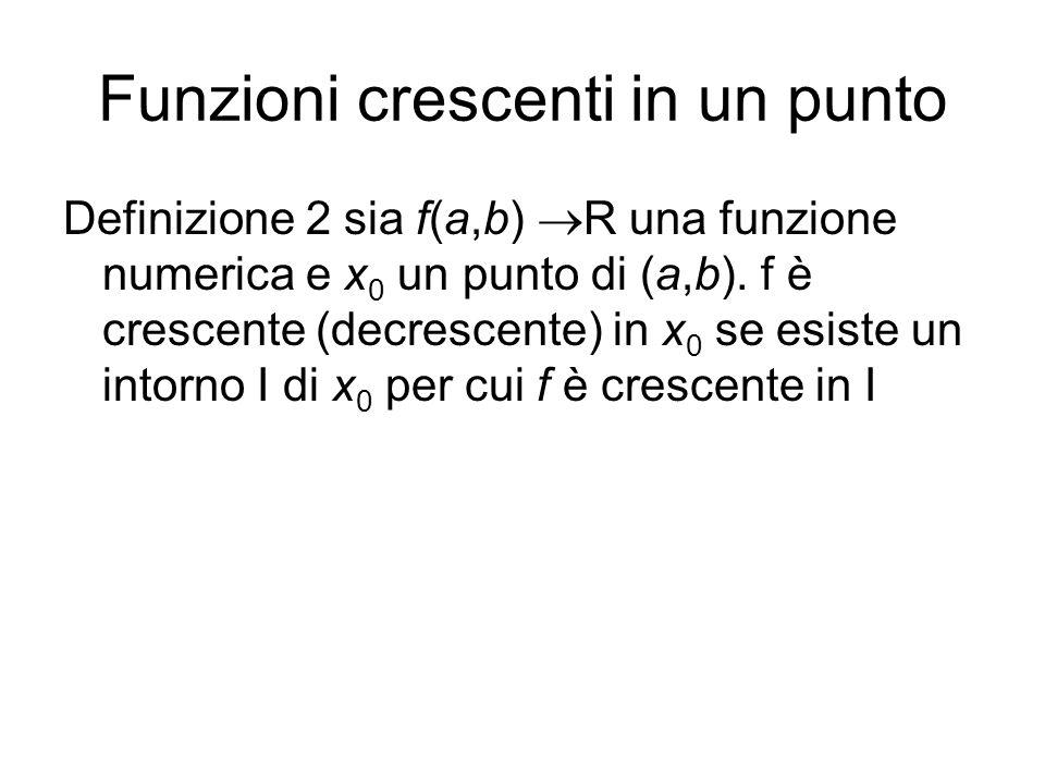 Funzioni crescenti in un punto Definizione 2 sia f(a,b)  R una funzione numerica e x 0 un punto di (a,b). f è crescente (decrescente) in x 0 se esist