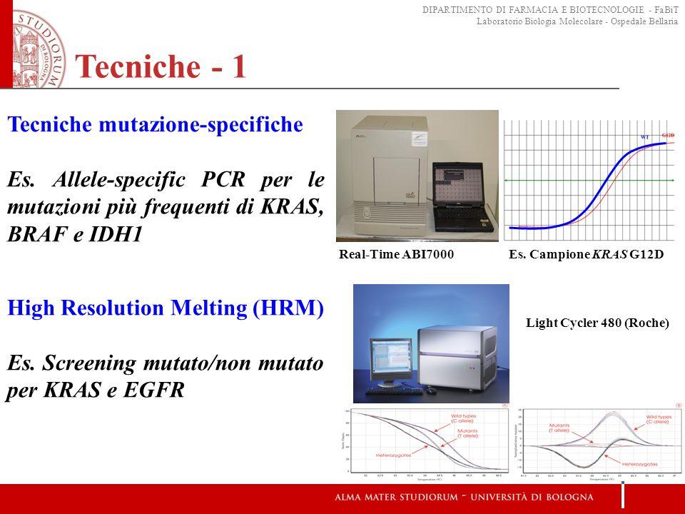 Tecniche - 1 Tecniche mutazione-specifiche Es. Allele-specific PCR per le mutazioni più frequenti di KRAS, BRAF e IDH1 Real-Time ABI7000Es. Campione K