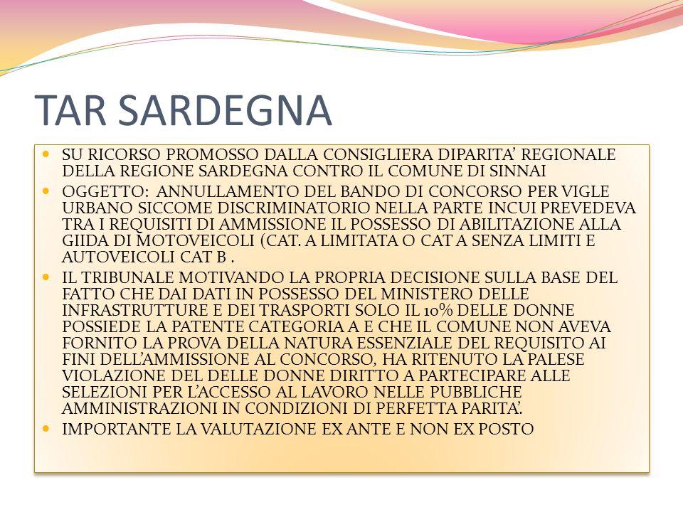 TAR SARDEGNA SU RICORSO PROMOSSO DALLA CONSIGLIERA DIPARITA' REGIONALE DELLA REGIONE SARDEGNA CONTRO IL COMUNE DI SINNAI OGGETTO: ANNULLAMENTO DEL BANDO DI CONCORSO PER VIGLE URBANO SICCOME DISCRIMINATORIO NELLA PARTE INCUI PREVEDEVA TRA I REQUISITI DI AMMISSIONE IL POSSESSO DI ABILITAZIONE ALLA GIIDA DI MOTOVEICOLI (CAT.