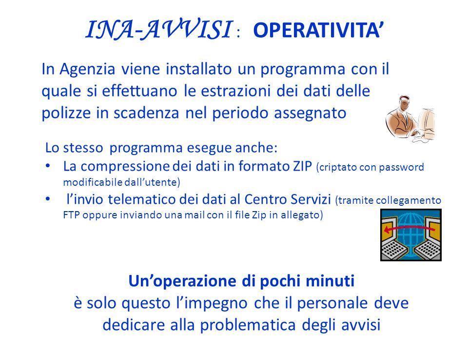 INA-AVVISI : OPERATIVITA' Lo stesso programma esegue anche: La compressione dei dati in formato ZIP (criptato con password modificabile dall'utente) l