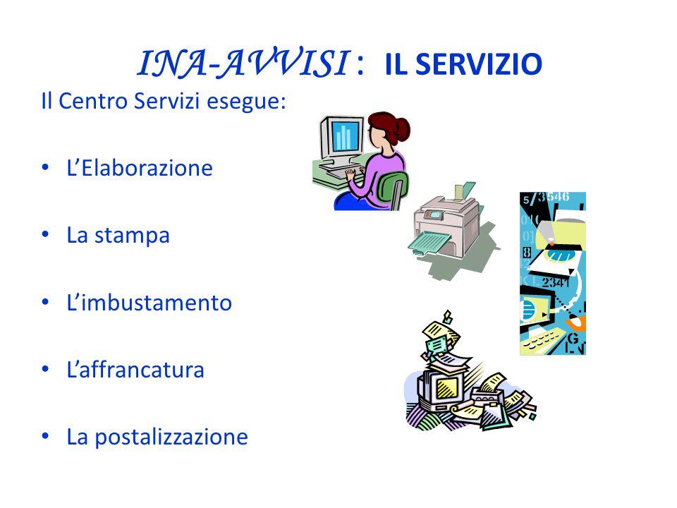 Il Centro Servizi esegue: L'Elaborazione La stampa L'imbustamento L'affrancatura La postalizzazione INA-AVVISI : IL SERVIZIO