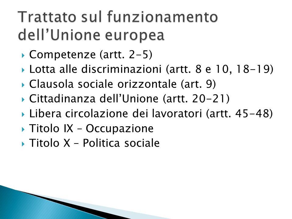  Competenze (artt.2-5)  Lotta alle discriminazioni (artt.