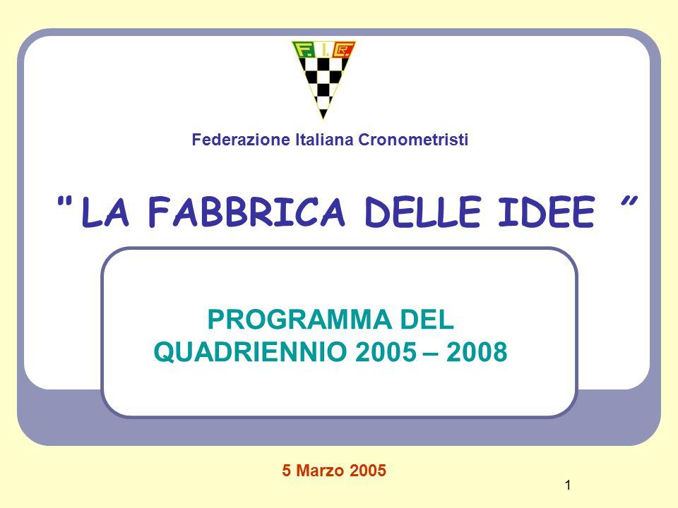 1 LA FABBRICA DELLE IDEE PROGRAMMA DEL QUADRIENNIO 2005 – 2008 Federazione Italiana Cronometristi 5 Marzo 2005
