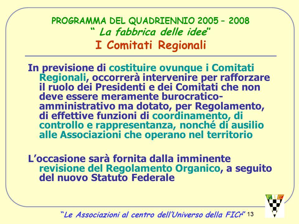 13 PROGRAMMA DEL QUADRIENNIO 2005 – 2008 La fabbrica delle idee I Comitati Regionali In previsione di costituire ovunque i Comitati Regionali, occorrerà intervenire per rafforzare il ruolo dei Presidenti e dei Comitati che non deve essere meramente burocratico- amministrativo ma dotato, per Regolamento, di effettive funzioni di coordinamento, di controllo e rappresentanza, nonché di ausilio alle Associazioni che operano nel territorio L'occasione sarà fornita dalla imminente revisione del Regolamento Organico, a seguito del nuovo Statuto Federale Le Associazioni al centro dell'Universo della FICr