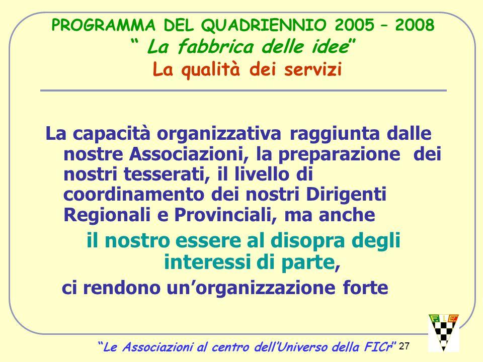 27 PROGRAMMA DEL QUADRIENNIO 2005 – 2008 La fabbrica delle idee La qualità dei servizi La capacità organizzativa raggiunta dalle nostre Associazioni, la preparazione dei nostri tesserati, il livello di coordinamento dei nostri Dirigenti Regionali e Provinciali, ma anche il nostro essere al disopra degli interessi di parte, ci rendono un'organizzazione forte Le Associazioni al centro dell'Universo della FICr