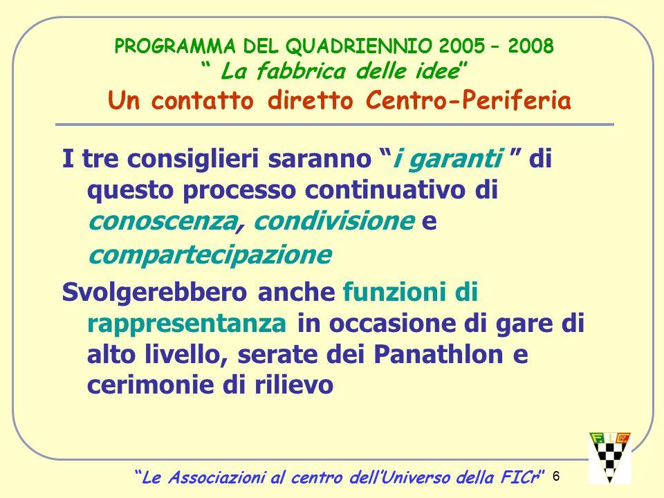 7 PROGRAMMA DEL QUADRIENNIO 2005 – 2008 La fabbrica delle idee Nuclei di Certificazione La seconda.