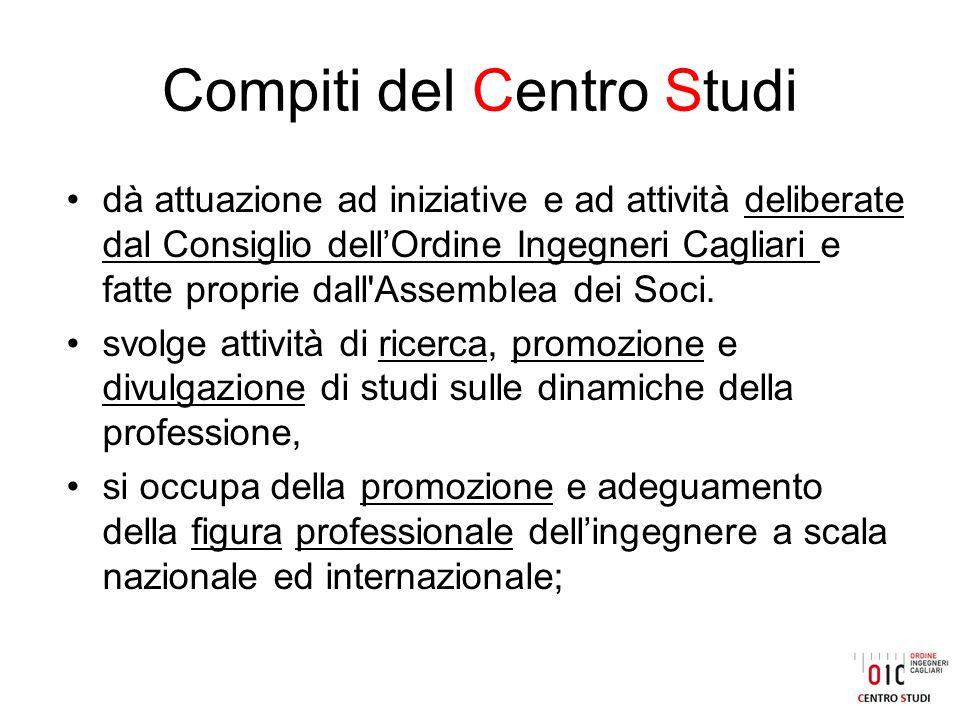 Compiti del Centro Studi dà attuazione ad iniziative e ad attività deliberate dal Consiglio dell'Ordine Ingegneri Cagliari e fatte proprie dall Assemblea dei Soci.