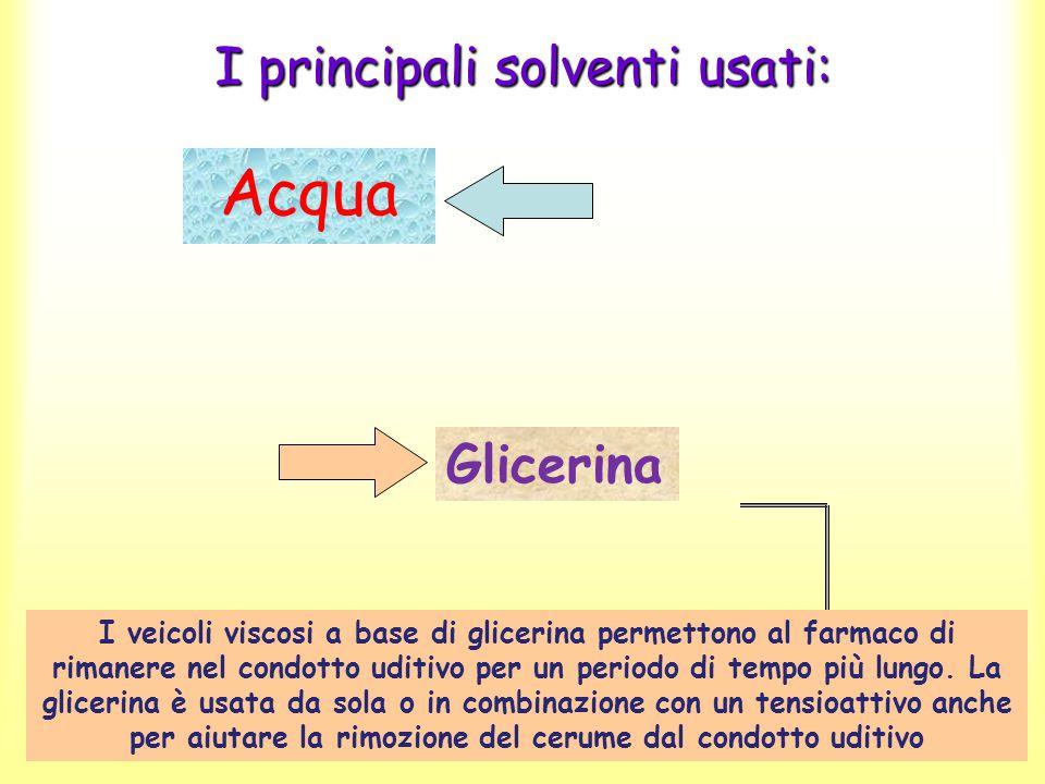 I principali solventi usati: Acqua Glicerina I veicoli viscosi a base di glicerina permettono al farmaco di rimanere nel condotto uditivo per un perio