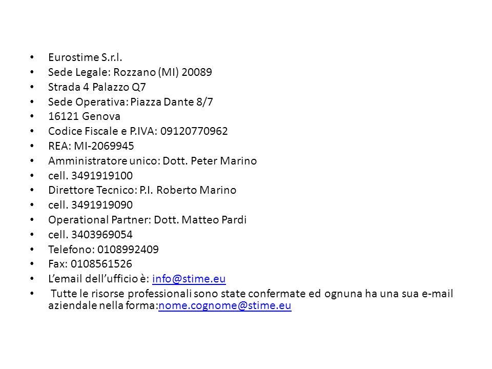 Eurostime S.r.l. Sede Legale: Rozzano (MI) 20089 Strada 4 Palazzo Q7 Sede Operativa: Piazza Dante 8/7 16121 Genova Codice Fiscale e P.IVA: 09120770962