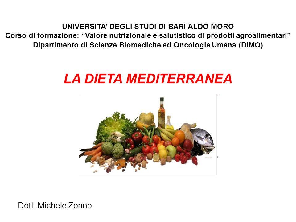 """UNIVERSITA' DEGLI STUDI DI BARI ALDO MORO Corso di formazione: """"Valore nutrizionale e salutistico di prodotti agroalimentari"""" Dipartimento di Scienze"""