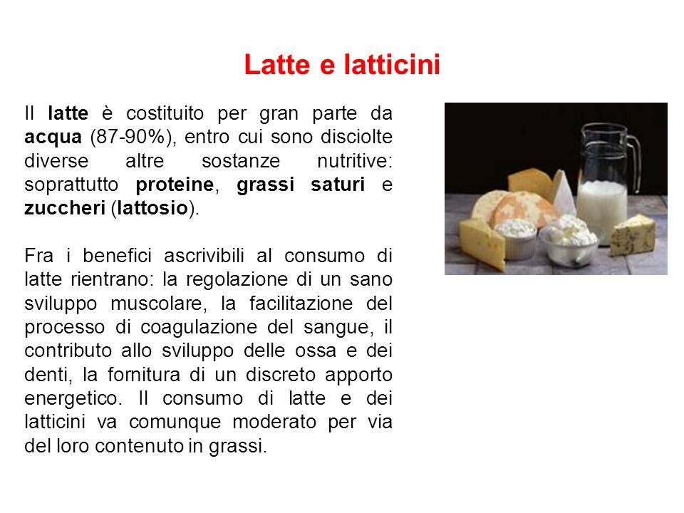 Latte e latticini Il latte è costituito per gran parte da acqua (87-90%), entro cui sono disciolte diverse altre sostanze nutritive: soprattutto prote
