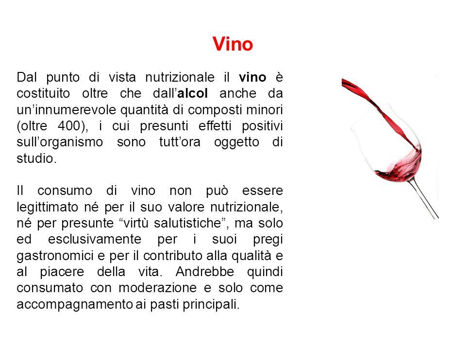 Vino Dal punto di vista nutrizionale il vino è costituito oltre che dall'alcol anche da un'innumerevole quantità di composti minori (oltre 400), i cui