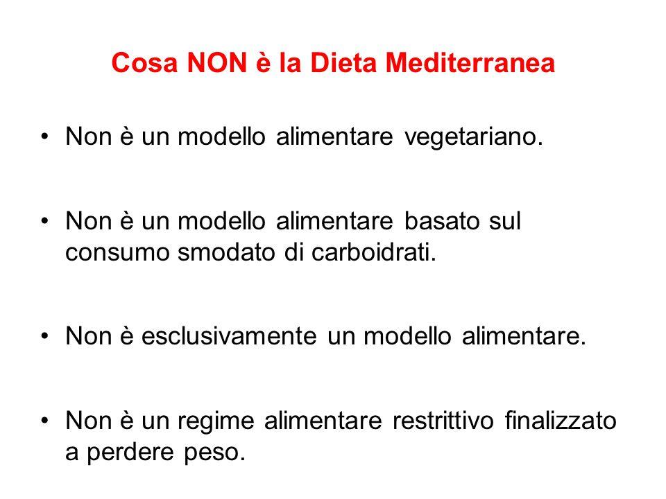 Cosa NON è la Dieta Mediterranea Non è un modello alimentare vegetariano. Non è un modello alimentare basato sul consumo smodato di carboidrati. Non è