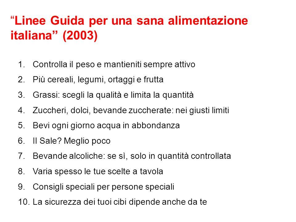 """""""Linee Guida per una sana alimentazione italiana"""" (2003) 1.Controlla il peso e mantieniti sempre attivo 2.Più cereali, legumi, ortaggi e frutta 3.Gras"""