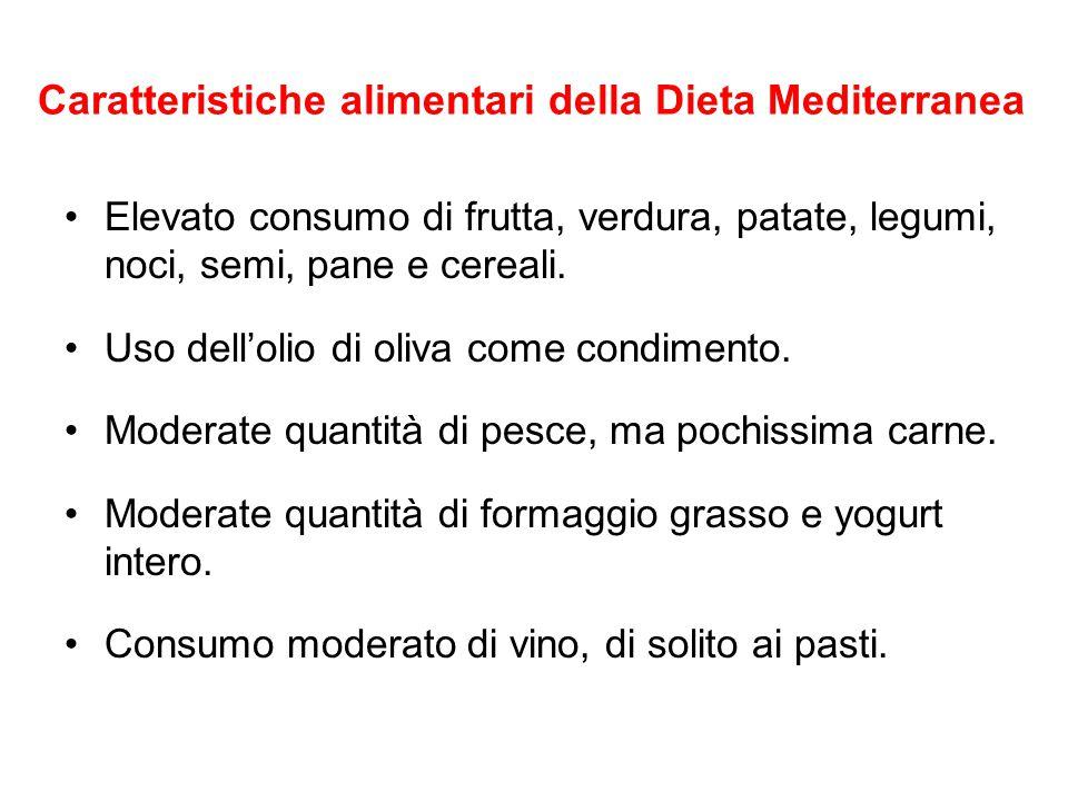Caratteristiche alimentari della Dieta Mediterranea Elevato consumo di frutta, verdura, patate, legumi, noci, semi, pane e cereali. Uso dell'olio di o