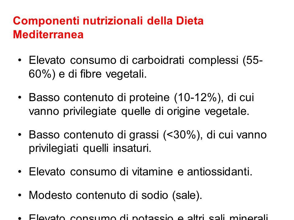 Componenti nutrizionali della Dieta Mediterranea Elevato consumo di carboidrati complessi (55- 60%) e di fibre vegetali. Basso contenuto di proteine (
