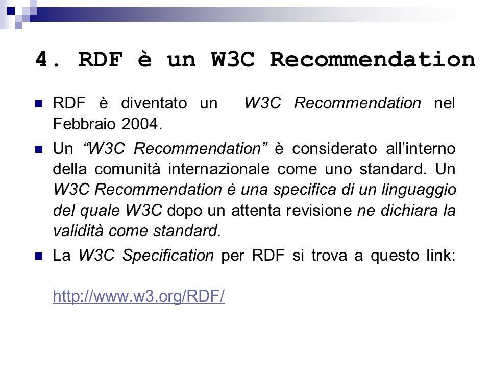 4.RDF è un W3C Recommendation RDF è diventato un W3C Recommendation nel Febbraio 2004.
