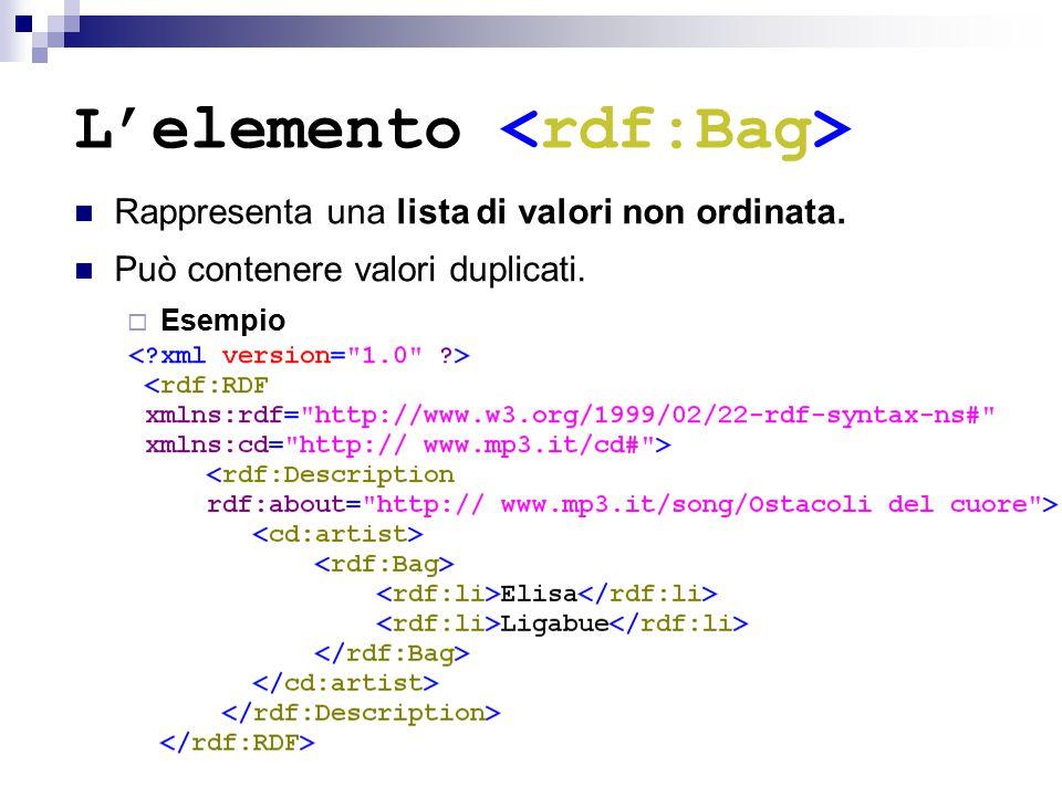 L'elemento Rappresenta una lista di valori non ordinata. Può contenere valori duplicati.  Esempio