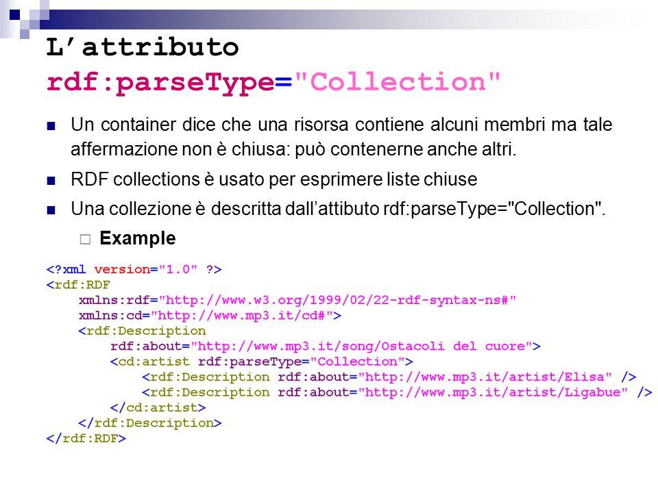L'attributo rdf:parseType= Collection Un container dice che una risorsa contiene alcuni membri ma tale affermazione non è chiusa: può contenerne anche altri.