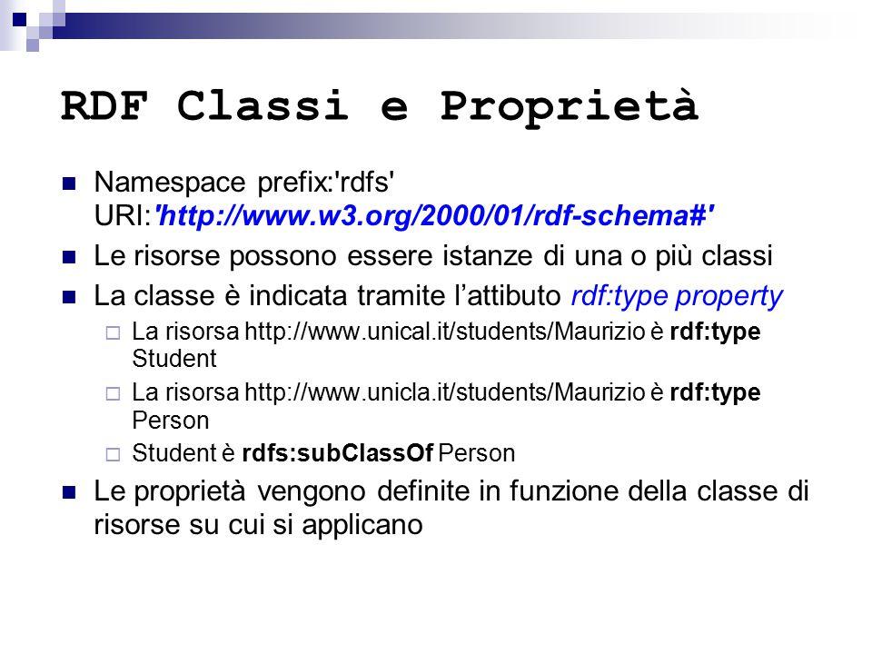 RDF Classi e Proprietà Namespace prefix: rdfs URI: http://www.w3.org/2000/01/rdf-schema# Le risorse possono essere istanze di una o più classi La classe è indicata tramite l'attibuto rdf:type property  La risorsa http://www.unical.it/students/Maurizio è rdf:type Student  La risorsa http://www.unicla.it/students/Maurizio è rdf:type Person  Student è rdfs:subClassOf Person Le proprietà vengono definite in funzione della classe di risorse su cui si applicano