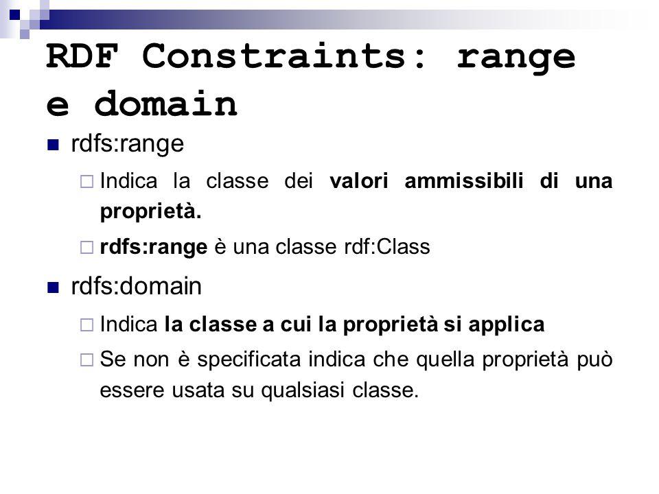 RDF Constraints: range e domain rdfs:range  Indica la classe dei valori ammissibili di una proprietà.