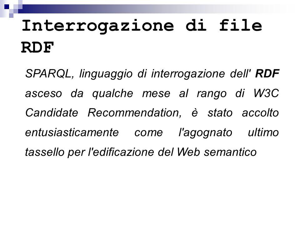 Interrogazione di file RDF SPARQL, linguaggio di interrogazione dell RDF asceso da qualche mese al rango di W3C Candidate Recommendation, è stato accolto entusiasticamente come l agognato ultimo tassello per l edificazione del Web semantico