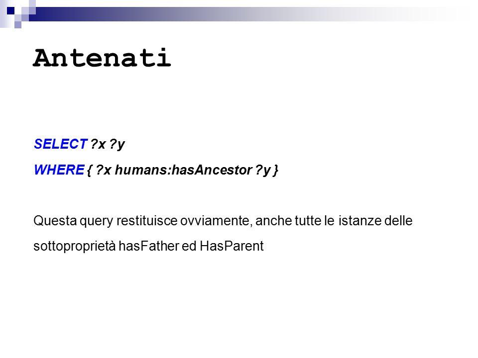 Antenati SELECT ?x ?y WHERE { ?x humans:hasAncestor ?y } Questa query restituisce ovviamente, anche tutte le istanze delle sottoproprietà hasFather ed HasParent