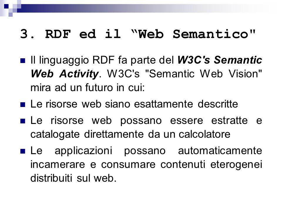 3.RDF ed il Web Semantico Il linguaggio RDF fa parte del W3C s Semantic Web Activity.