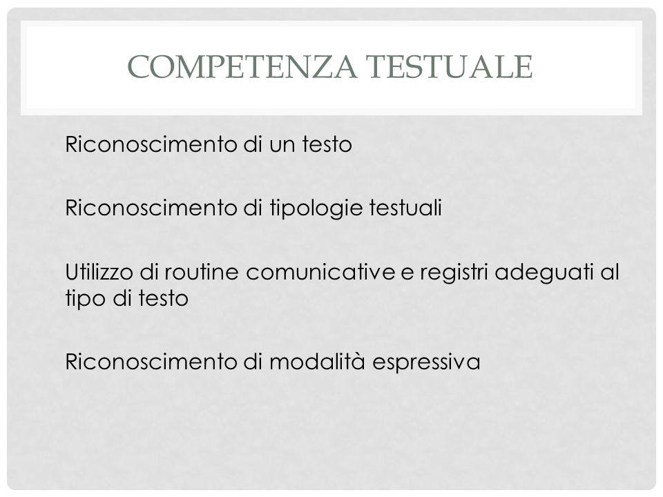 COMPETENZA TESTUALE Riconoscimento di un testo Riconoscimento di tipologie testuali Utilizzo di routine comunicative e registri adeguati al tipo di te