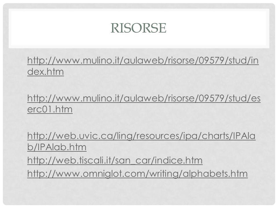 RISORSE http://www.mulino.it/aulaweb/risorse/09579/stud/in dex.htm http://www.mulino.it/aulaweb/risorse/09579/stud/in dex.htm http://www.mulino.it/aul