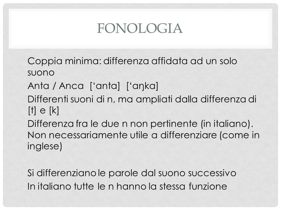 FONOLOGIA Coppia minima: differenza affidata ad un solo suono Anta / Anca ['anta] ['aŋka] Differenti suoni di n, ma ampliati dalla differenza di [t] e [k] Differenza fra le due n non pertinente (in italiano).