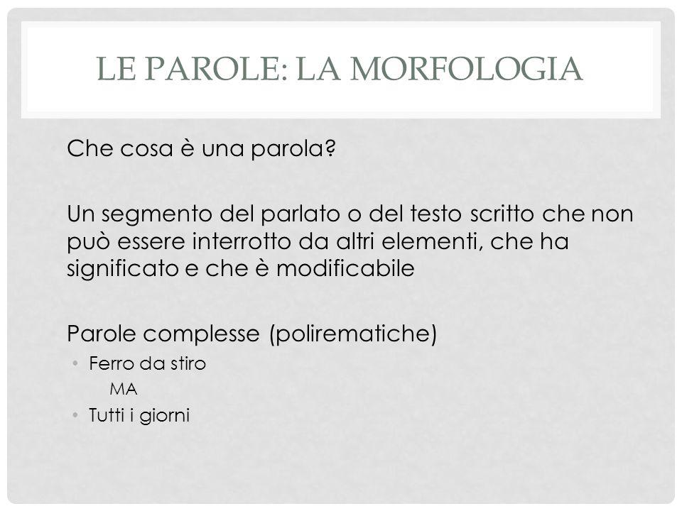 LE PAROLE: LA MORFOLOGIA Che cosa è una parola? Un segmento del parlato o del testo scritto che non può essere interrotto da altri elementi, che ha si