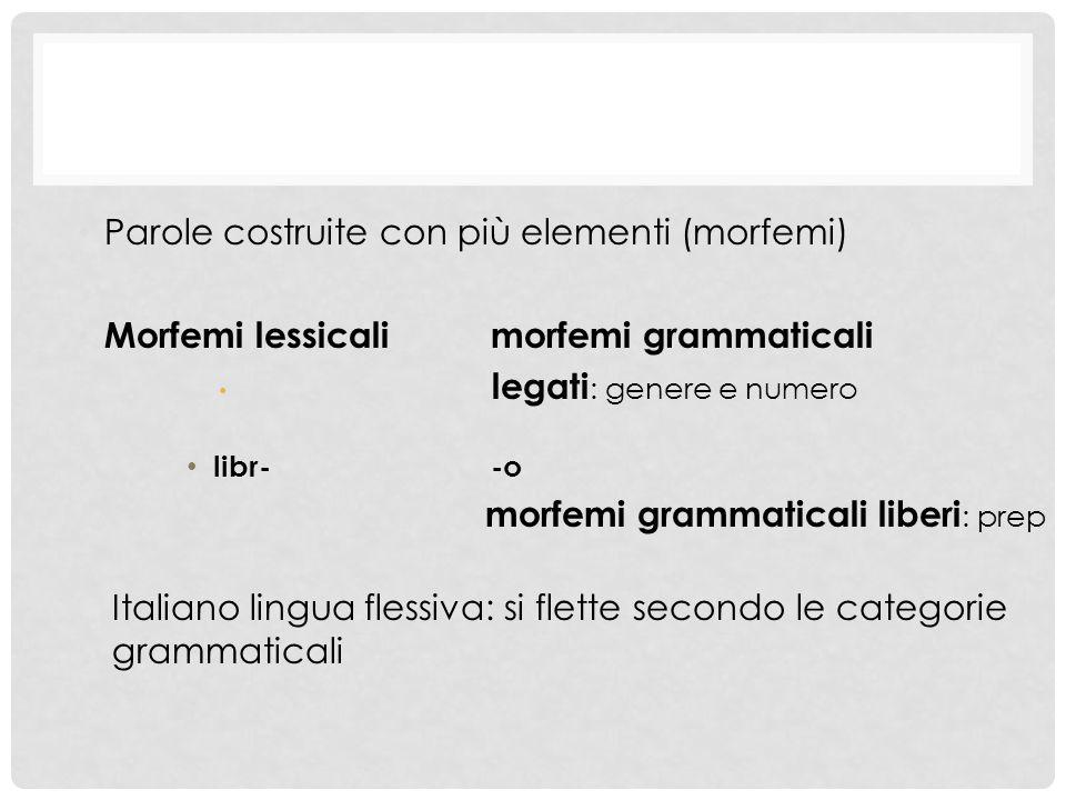 Parole costruite con più elementi (morfemi) Morfemi lessicalimorfemi grammaticali legati : genere e numero libr--o morfemi grammaticali liberi : prep