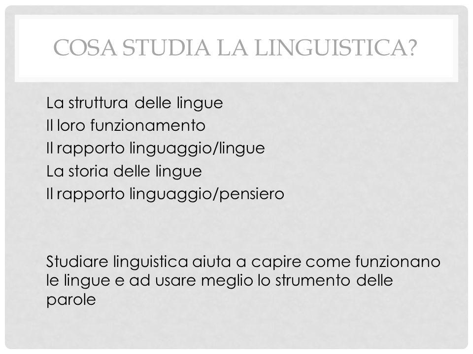 COSA STUDIA LA LINGUISTICA? La struttura delle lingue Il loro funzionamento Il rapporto linguaggio/lingue La storia delle lingue Il rapporto linguaggi